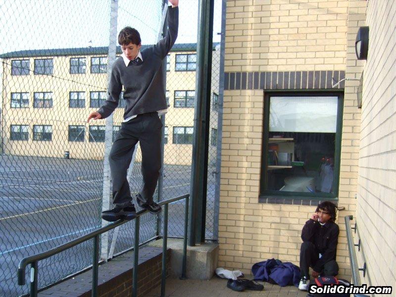 Stuart Pickston hitting a Cheese Grater on the School Gym Rail