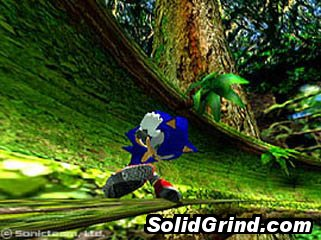 Sonic the Hedgehog sliding a vine with his scorchers
